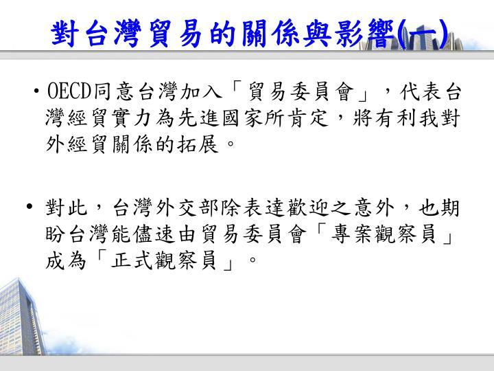 對台灣貿易的關係與影響