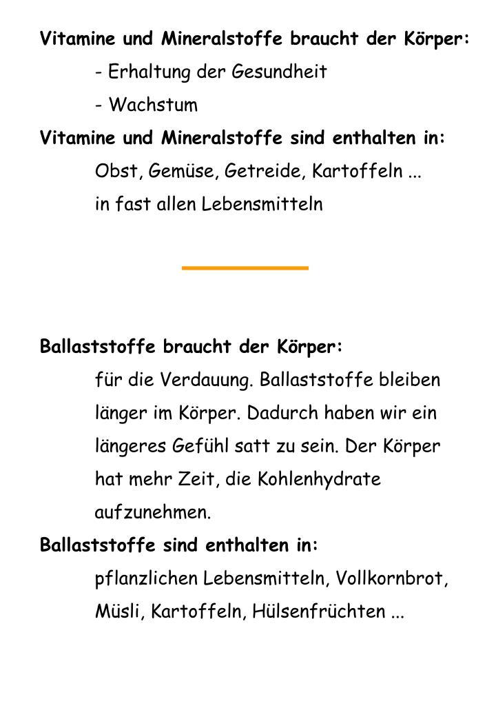 Vitamine und Mineralstoffe braucht der Körper: