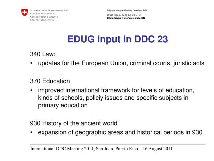 EDUG input in DDC 23