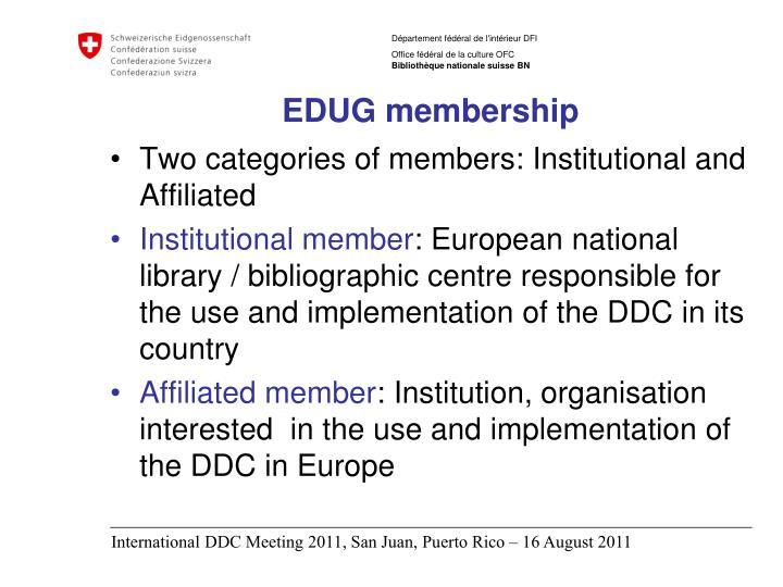 EDUG membership