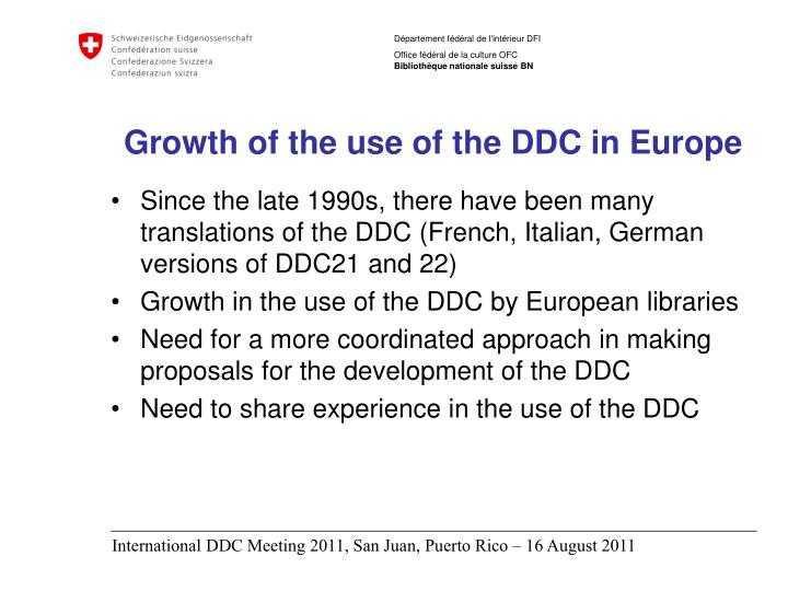 Growth of the use of the ddc in europe