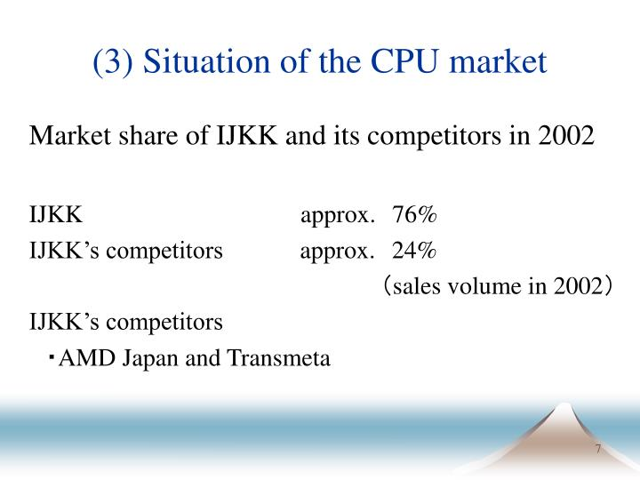 (3) Situation of the CPU market