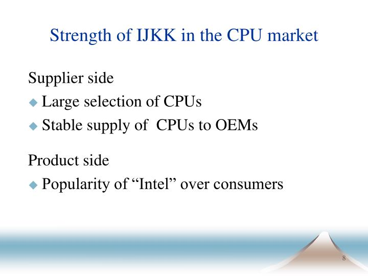 Strength of IJKK in the CPU market