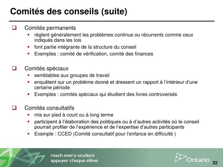 Comités des conseils (suite)
