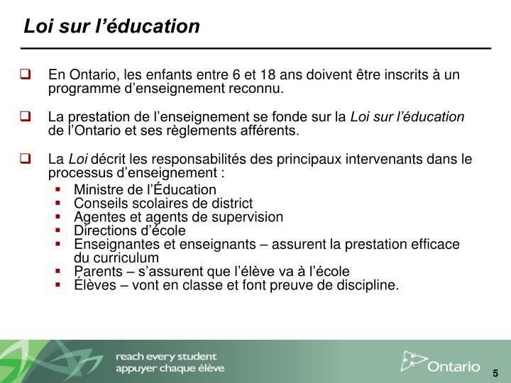 Loi sur l'éducation