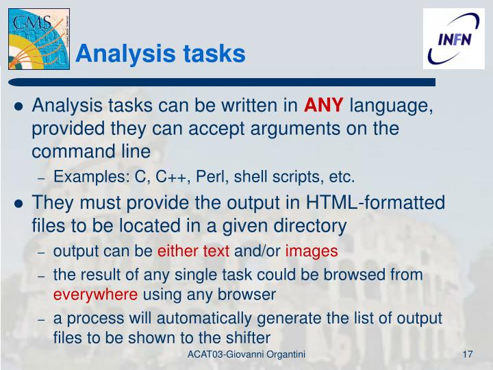 Analysis tasks