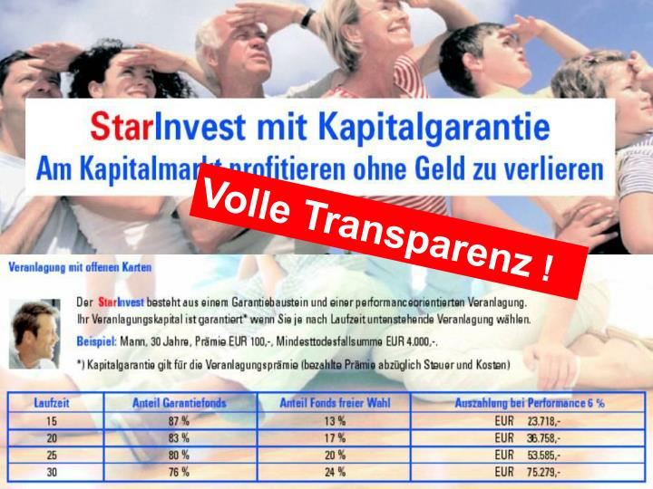 Volle Transparenz