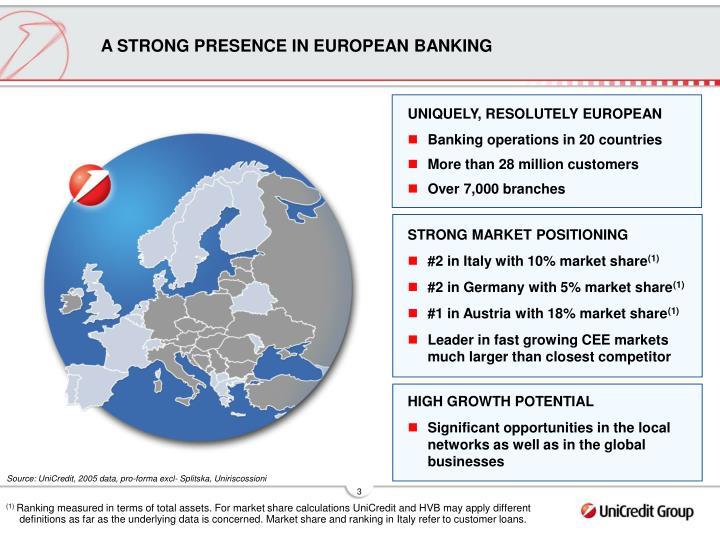 A STRONG PRESENCE IN EUROPEAN BANKING