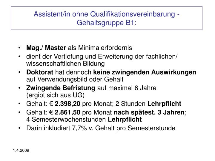 Assistent/in ohne Qualifikationsvereinbarung -