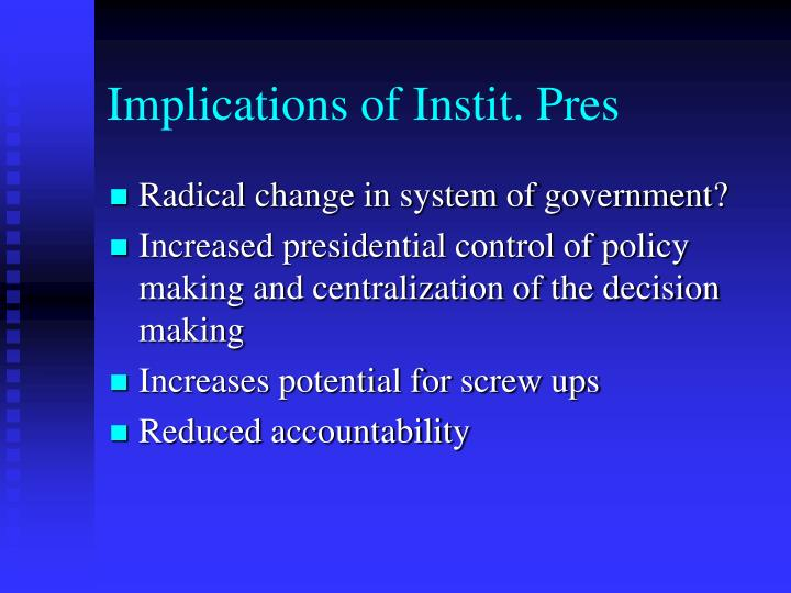 Implications of Instit. Pres
