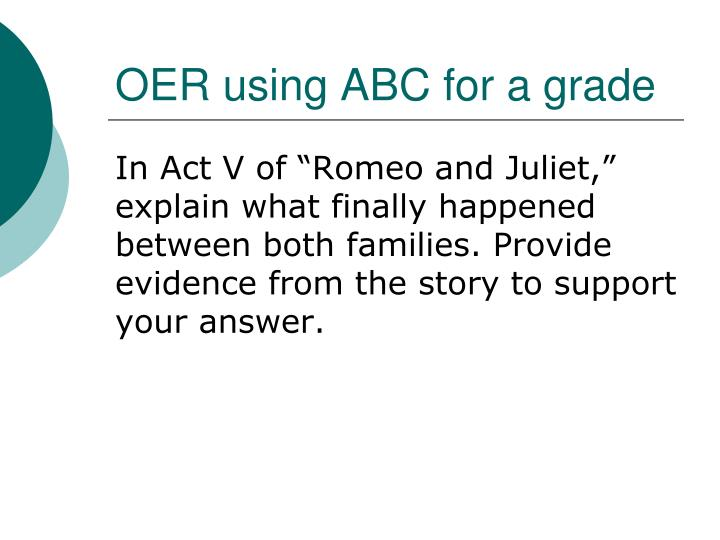 OER using ABC for a grade