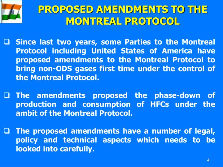 PROPOSED AMENDMENTS TO THE MONTREAL PROTOCOL