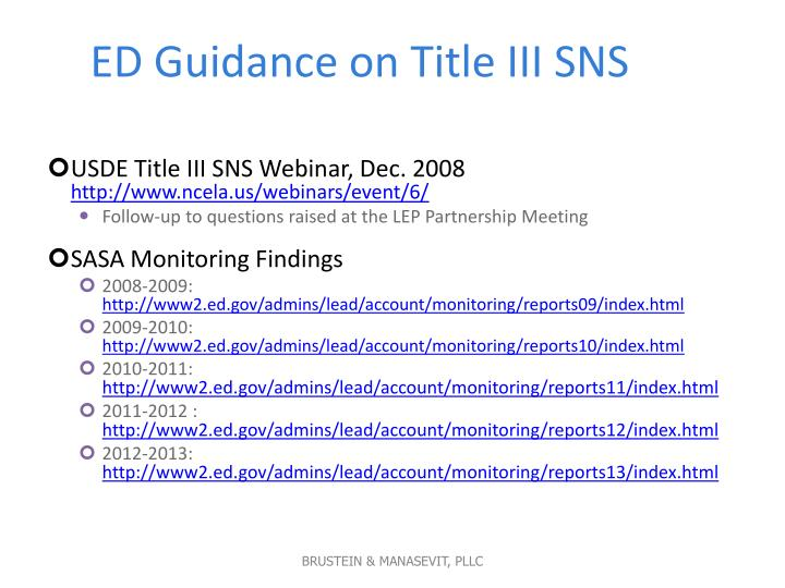 ED Guidance on Title III SNS
