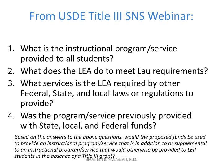From USDE Title III SNS Webinar: