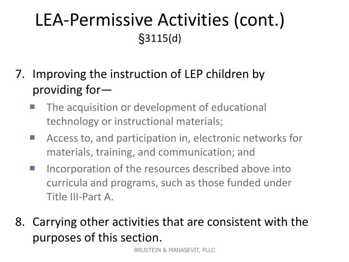 LEA-Permissive Activities (cont.)
