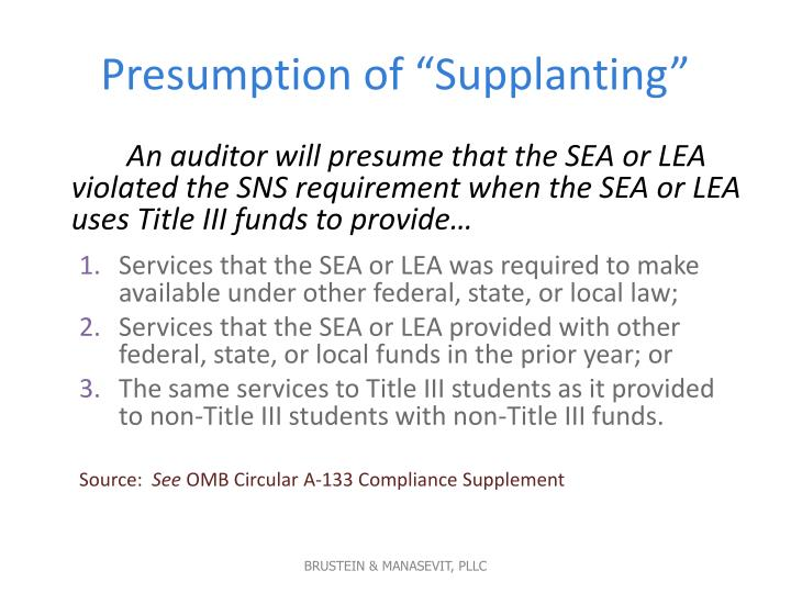 "Presumption of ""Supplanting"""