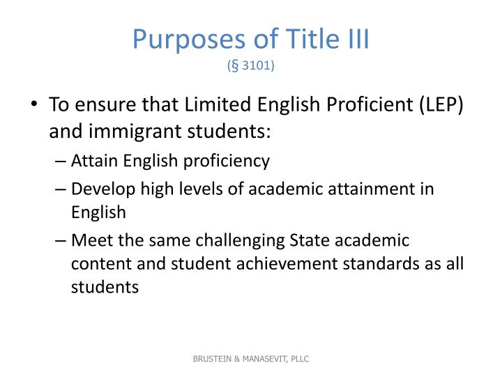 Purposes of Title III