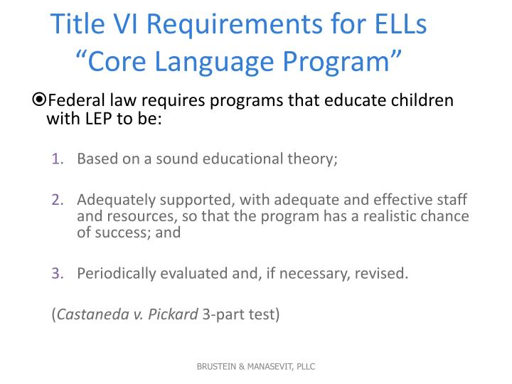 Title VI Requirements for ELLs