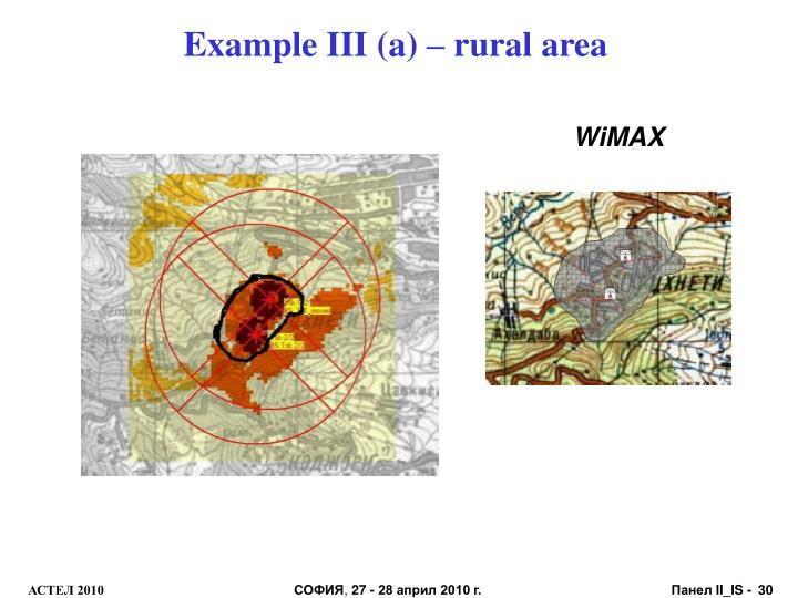 Example III (a) – rural area