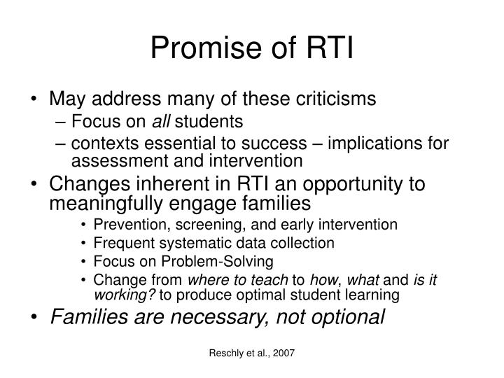 Promise of RTI
