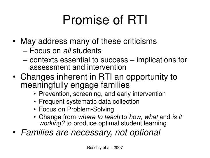 Promise of RTI