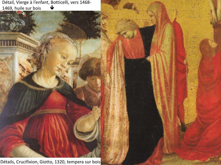 Détail, Vierge à l'enfant, Botticelli, vers 1468-1469, huile sur bois