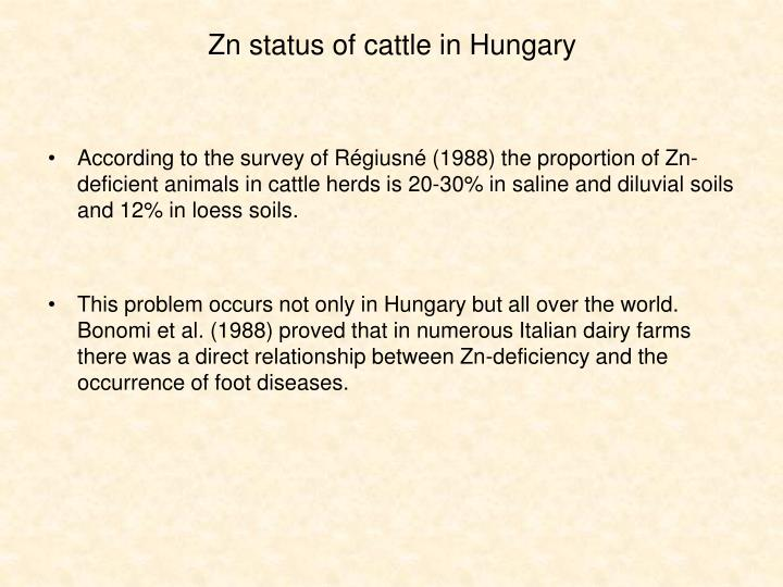 Zn status of cattle in Hungary