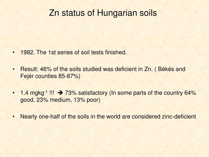 Zn status of Hungarian soils