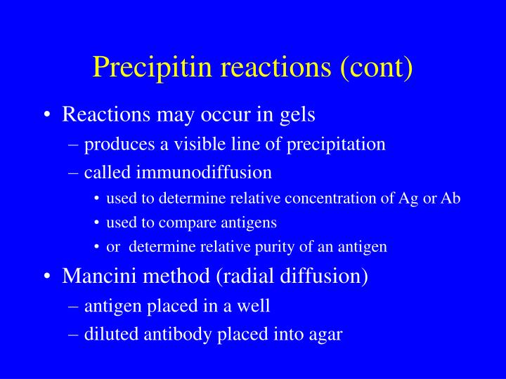 Precipitin reactions (cont)