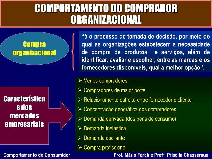 COMPORTAMENTO DO COMPRADOR ORGANIZACIONAL