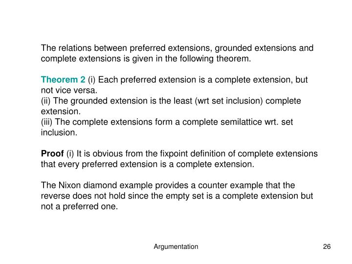 The relations between preferred extensions, grounded extensions and complete extensions is given