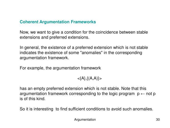 Coherent Argumentation Frameworks