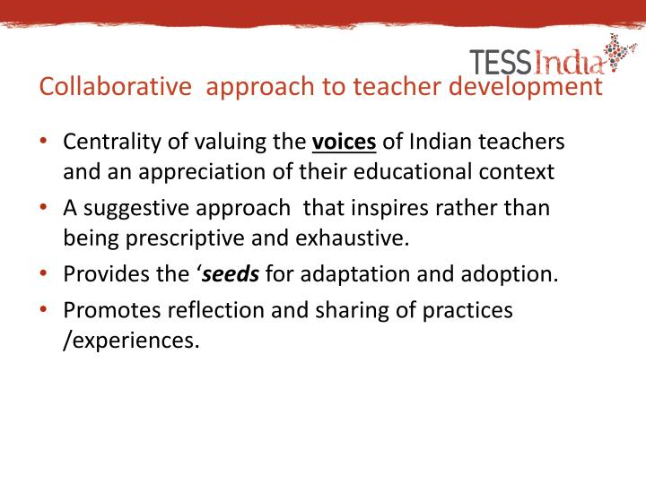Collaborative  approach to teacher development