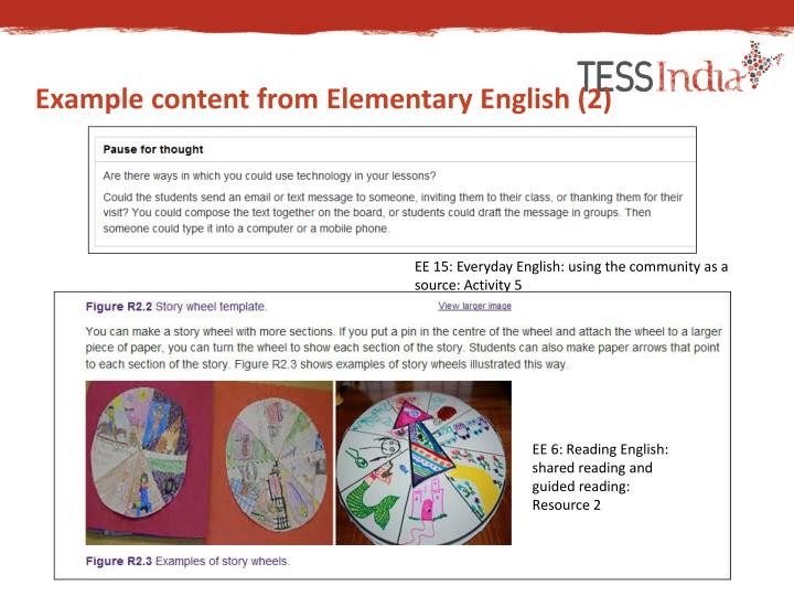 Example content from Elementary English (2)