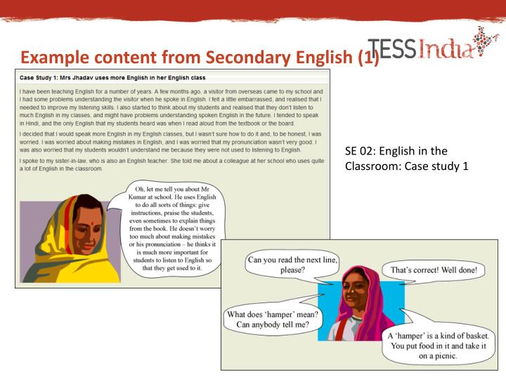Example content from Secondary English (1)