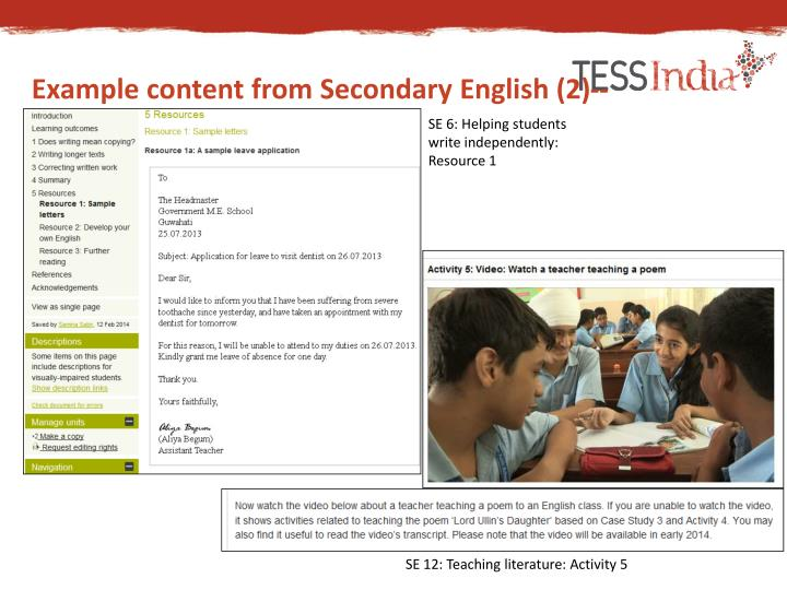 Example content from Secondary English (2)--