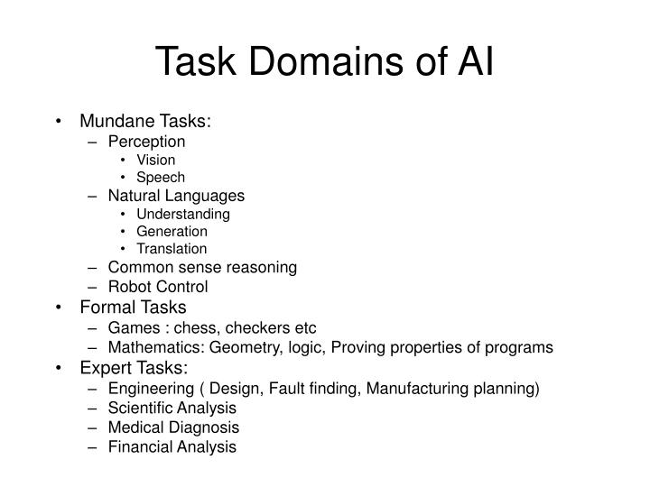 Task Domains of AI