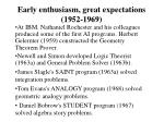 early enthusiasm great expectations 1952 19691