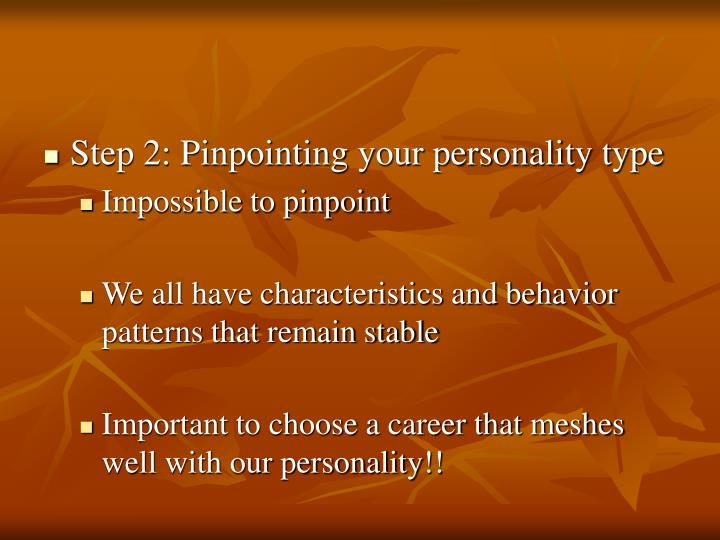 Step 2: Pinpointing your personality type