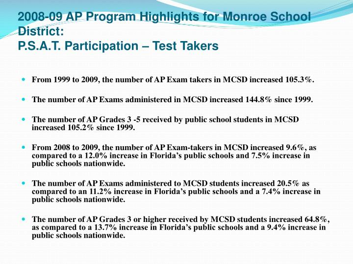 2008-09 AP Program Highlights for Monroe School District: