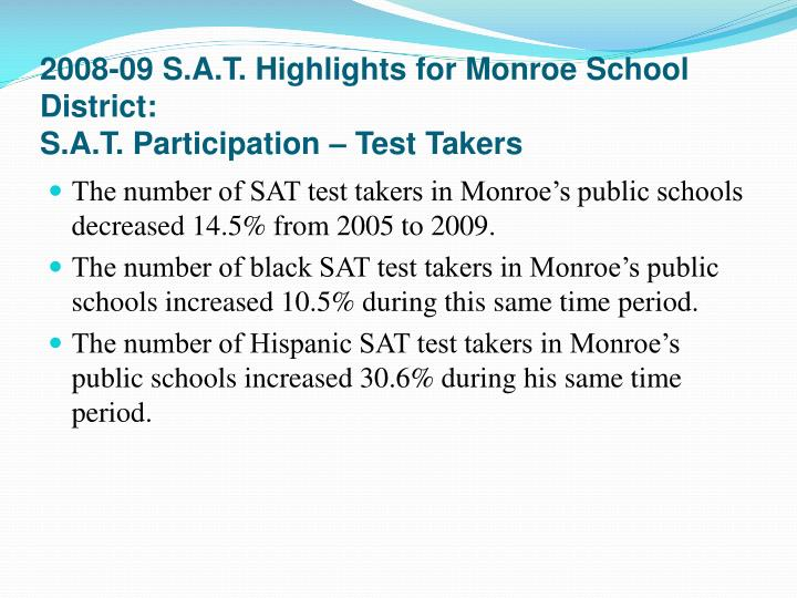 2008-09 S.A.T. Highlights for Monroe School District: