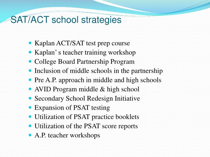 SAT/ACT school strategies
