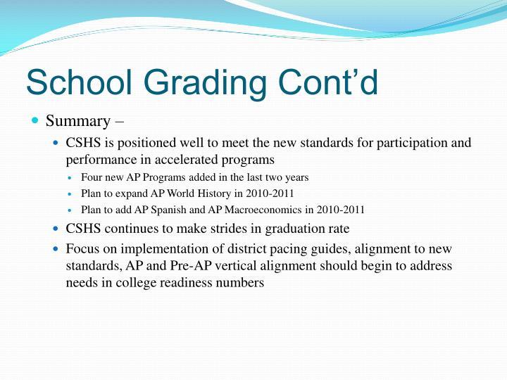 School Grading Cont'd