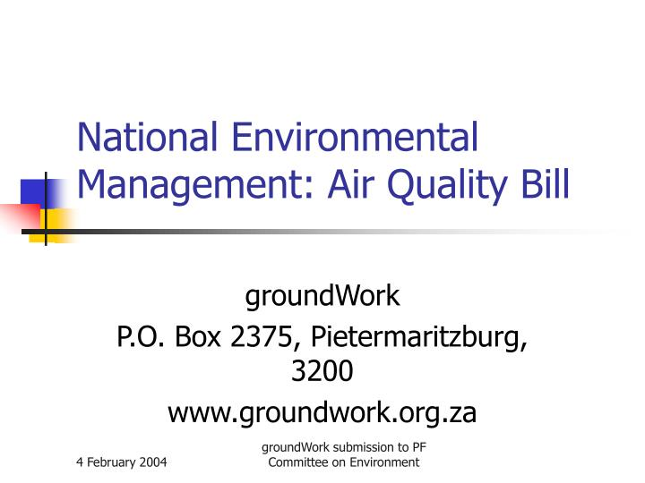 National environmental management air quality bill