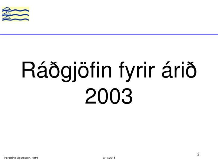 Ráðgjöfin fyrir árið 2003