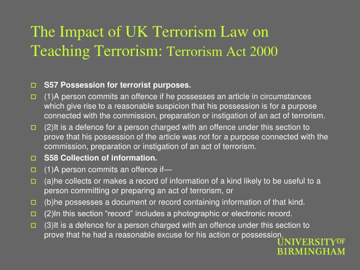 The Impact of UK Terrorism Law on Teaching Terrorism: