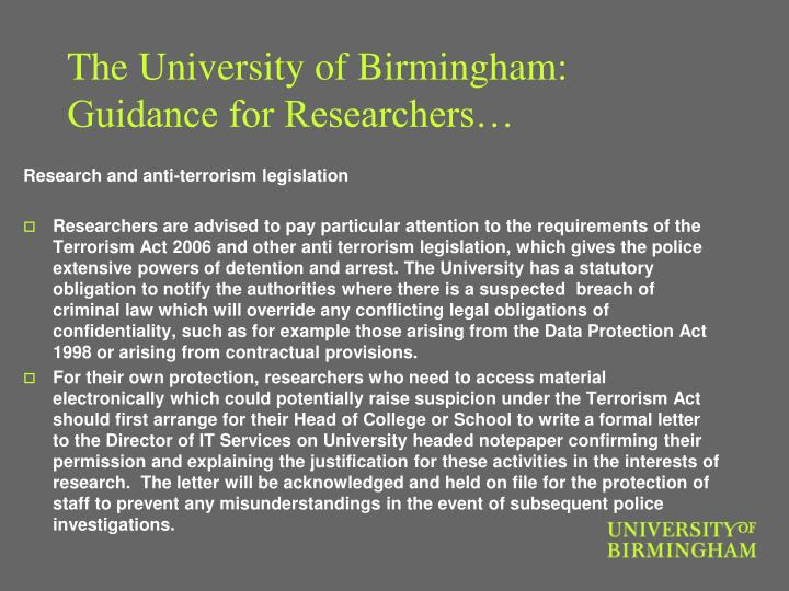The University of Birmingham: Guidance for Researchers…