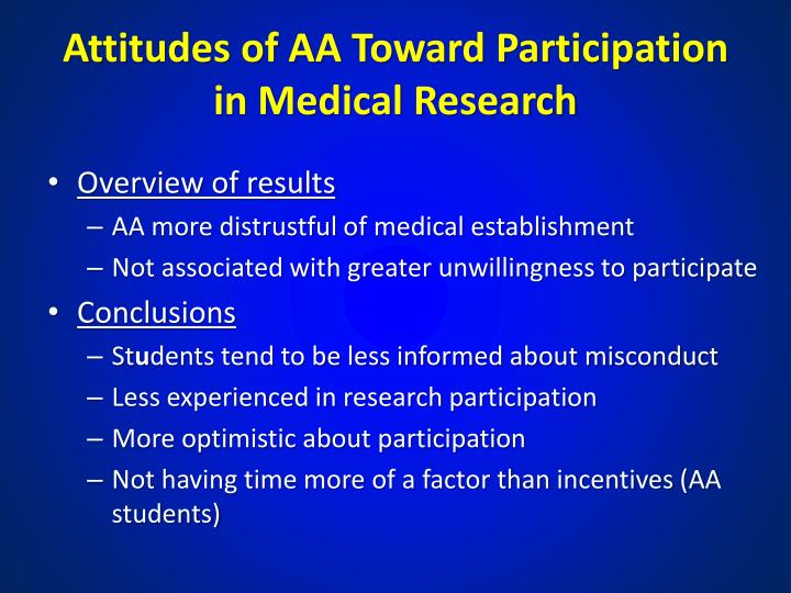 Attitudes of AA Toward Participation in Medical Research