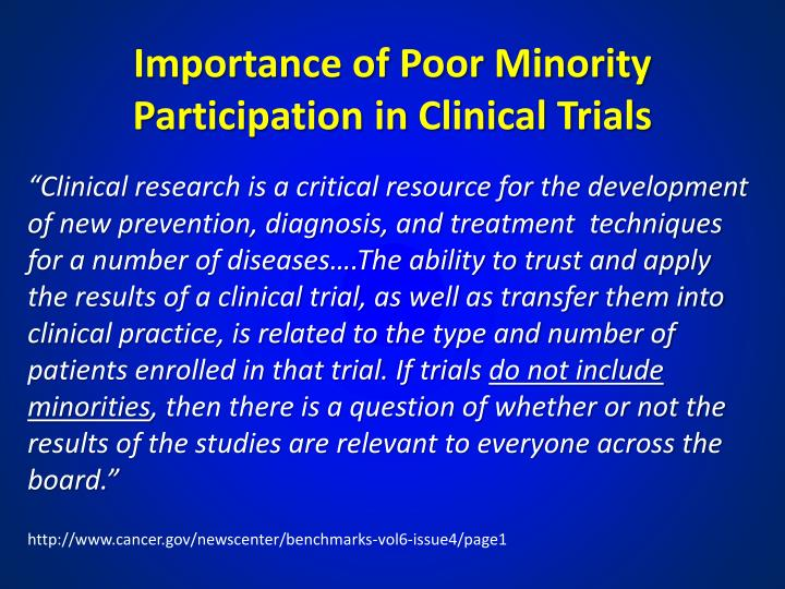 Importance of Poor Minority Participation in Clinical Trials