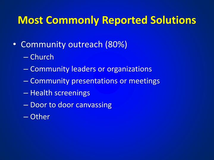 Most Commonly Reported Solutions
